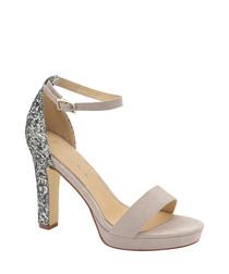 Grey leather glitter block heels