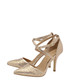 Gold leather embellished strap heels Sale - ravel Sale