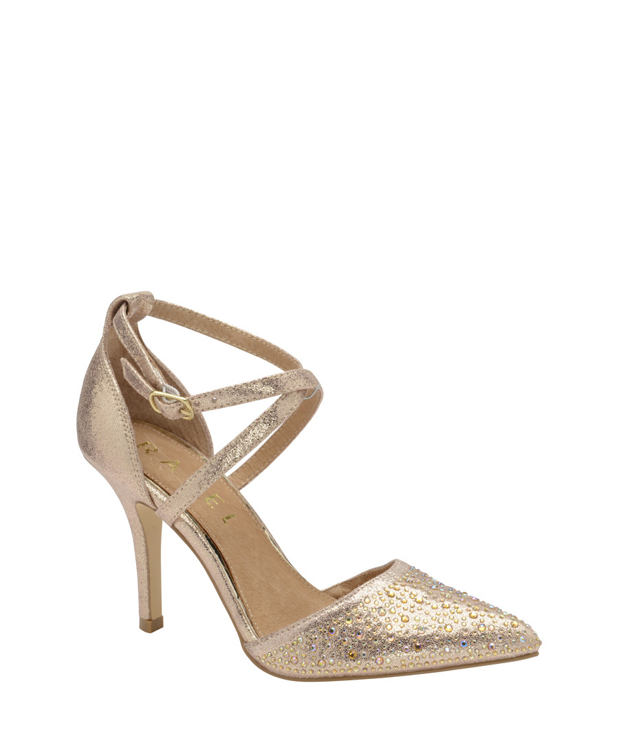 Gold leather embellished strap heels Sale - ravel