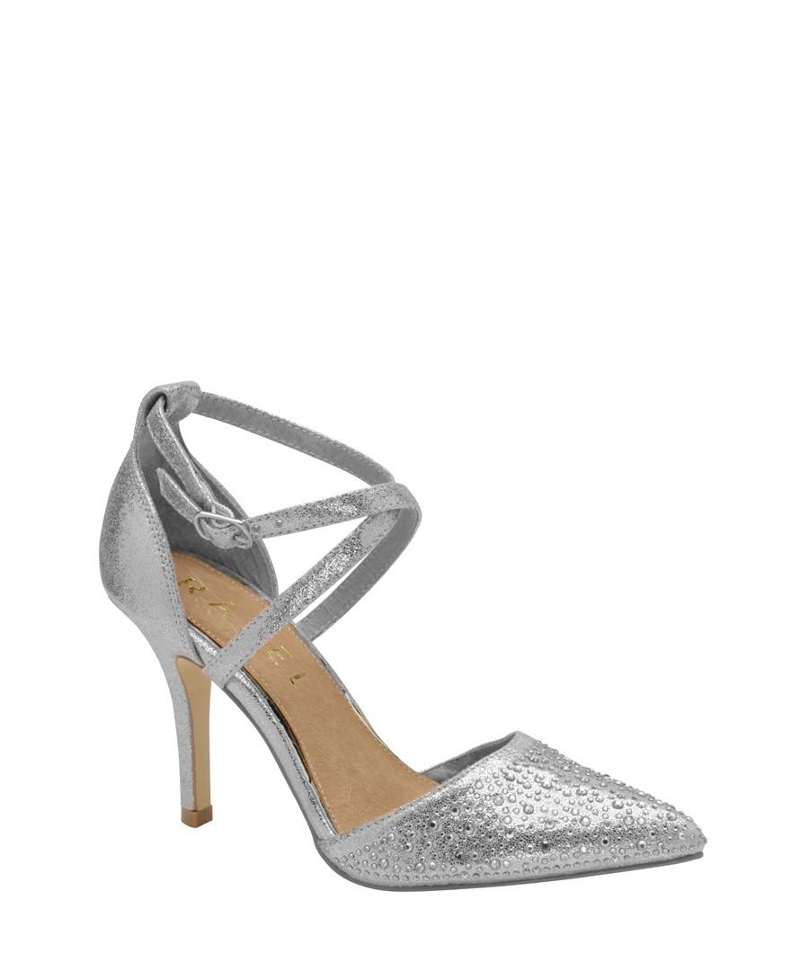Silver embellished strap heels Sale - ravel