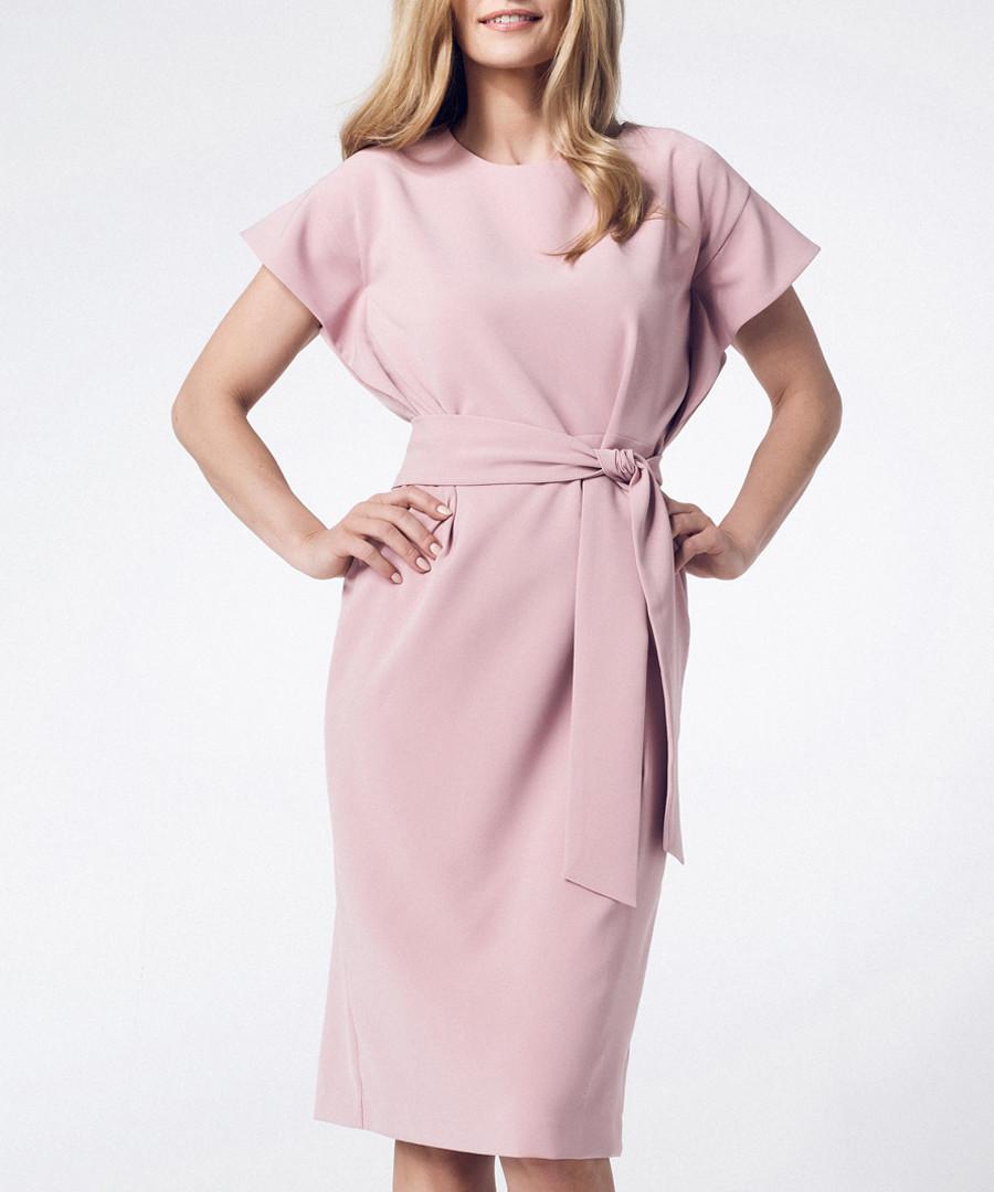 Light pink short sleeve tie-waist dress Sale - peperuna