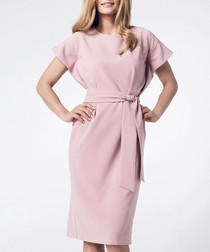 Light pink short sleeve tie-waist dress