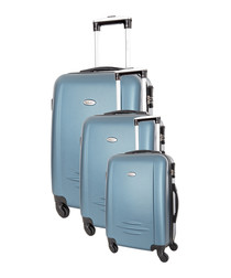 3pc Burlin blue spinner suitcase nest