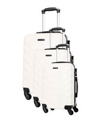 3pc Shambala ivory spinner suitcase nest