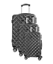 3pc Gregoria black spinner suitcase nest