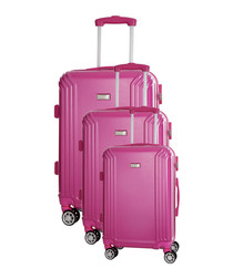 3pc Kirwee fuchsia spinner suitcase nest