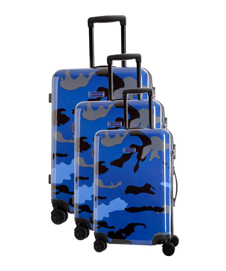 3pc Marshall blue spinner suitcase nest Sale - platinium