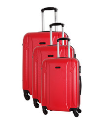 3pc Levy red spinner suitcase nest