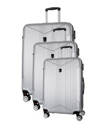 3pc Scheving silver spinner suitcase set