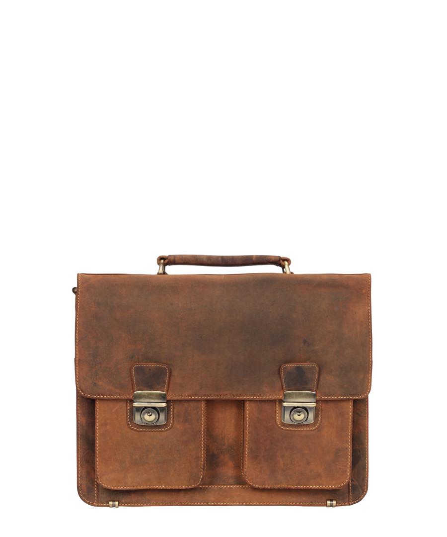 Brown leather flap satchel Sale - Lloyd Baker