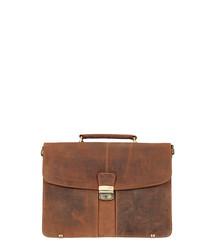 Brown leather worn-effect briefcase