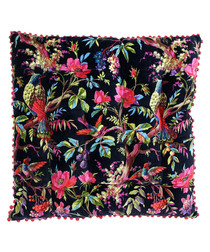 Paradise black cotton floor cushion 70cm