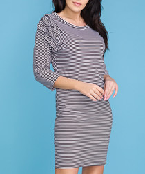 Women's black cotton blend stripe dress