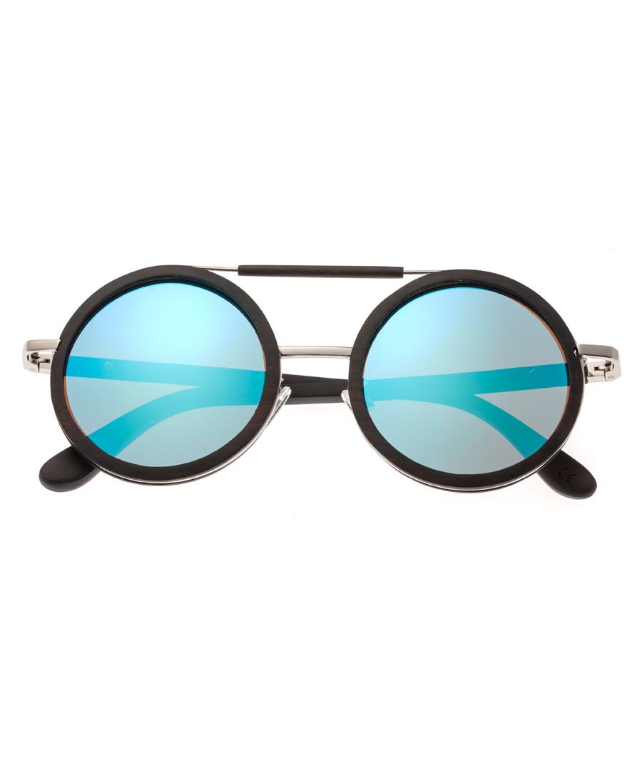 Bondi dark brown & blue round sunglasses Sale - earth wood