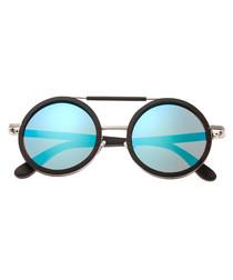 Bondi dark brown & blue round sunglasses