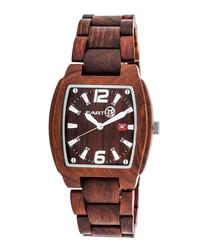 Sagano red wood square watch