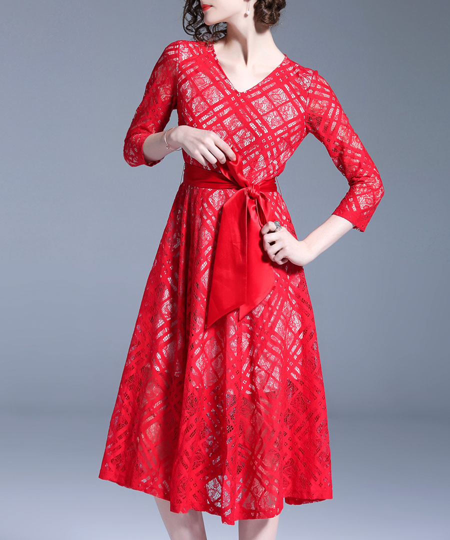 Red print V-neck bow midi dress Sale - Ferraga