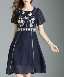 Navy & white embroidered dress