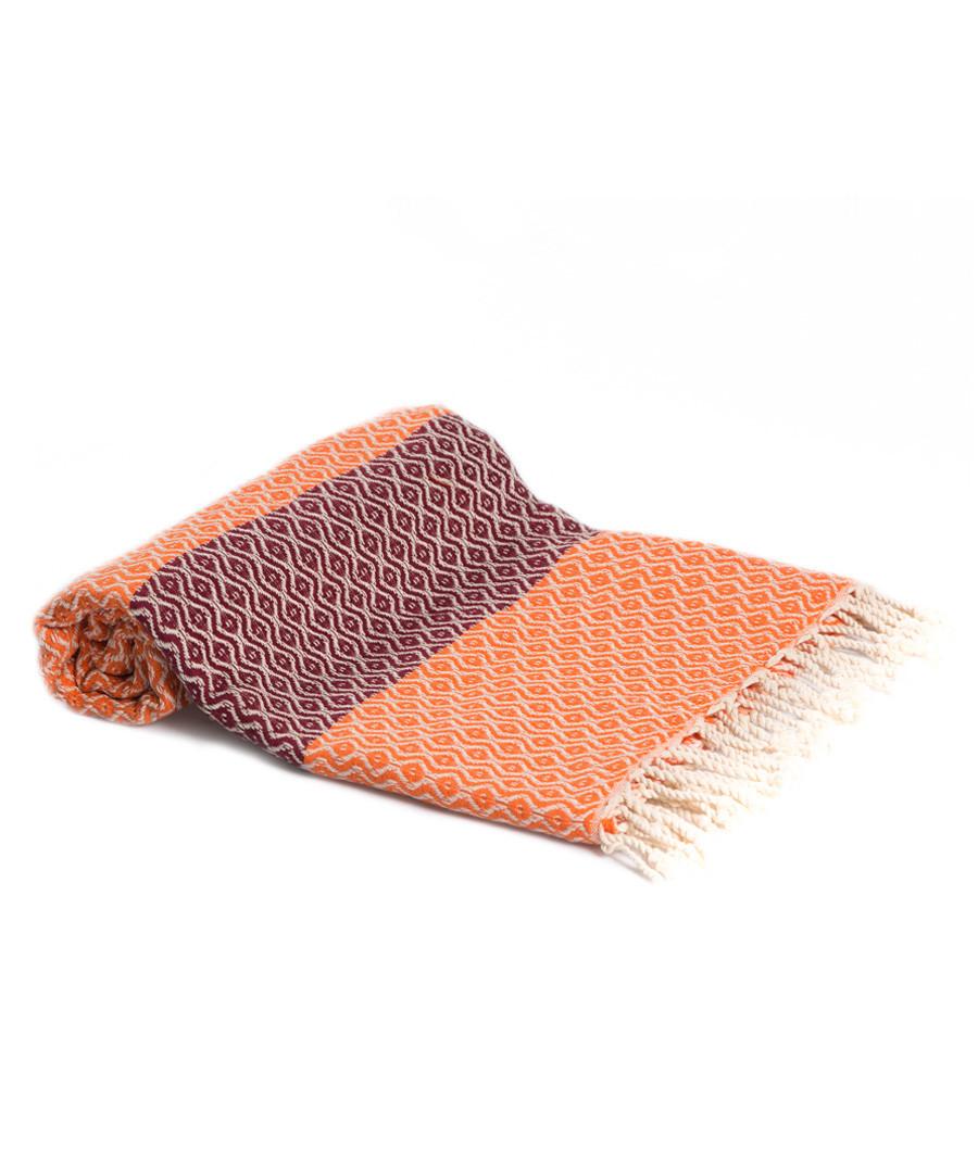 Orange & red pure cotton beach towel Sale - hamam
