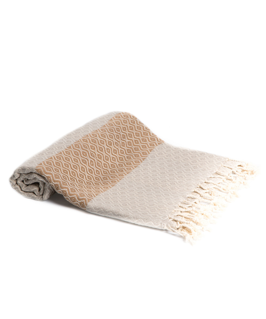Grey & beige pure cotton beach towel Sale - hamam