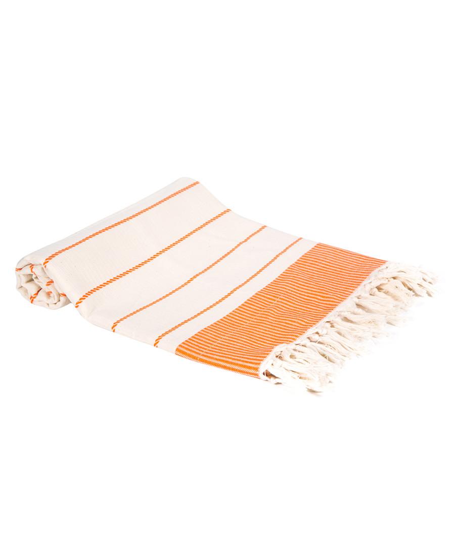 Orange pure Turkish cotton beach towel Sale - hamam