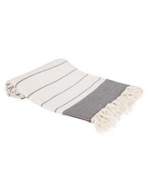 Black pure Turkish cotton beach towel