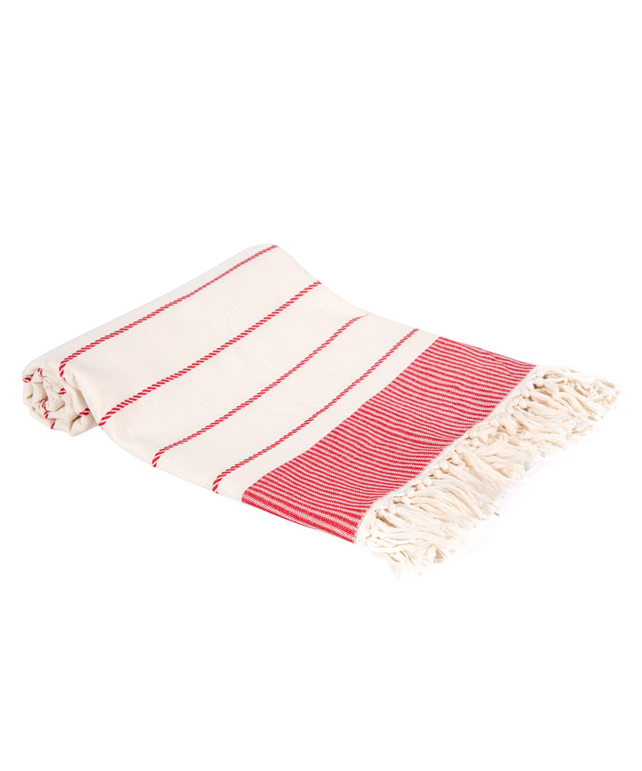 Red pure Turkish cotton beach towel Sale - hamam