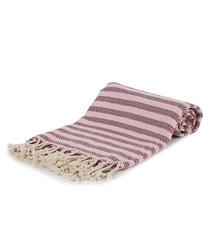 Pink & red cotton stripe beach towel