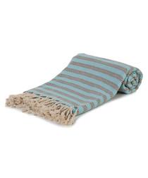 Grey & turquoise cotton beach towel