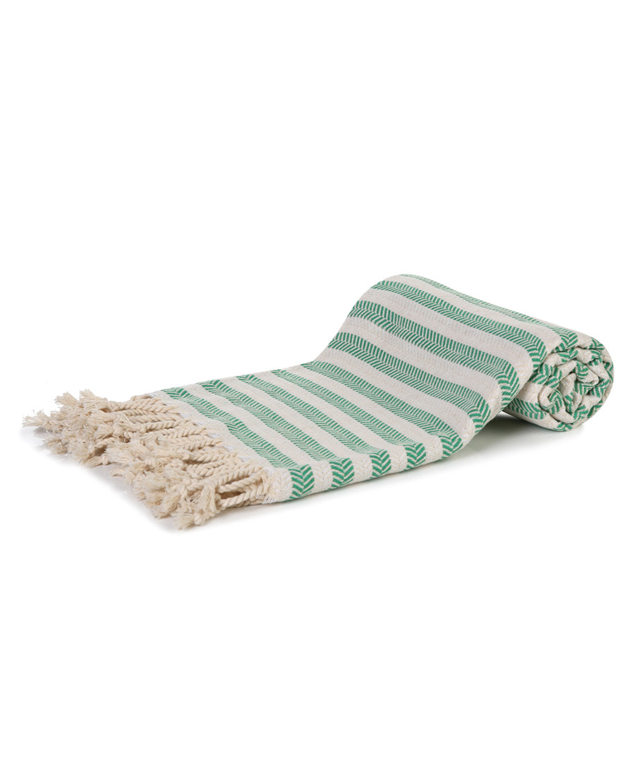 Green & white cotton stripe beach towel Sale - hamam
