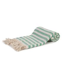 Green & white cotton stripe beach towel