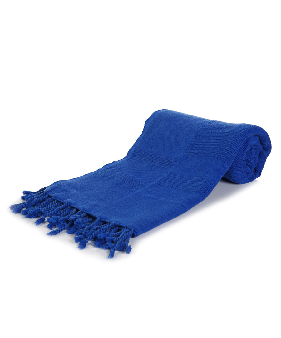 Neon blue pure cotton beach towel Sale - hamam