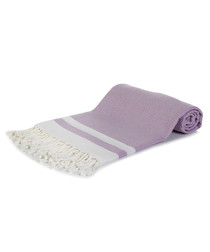 Lilac pure cotton print beach towel
