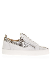 White leather zip sneakers