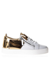 White & gold-tone leather sneakers