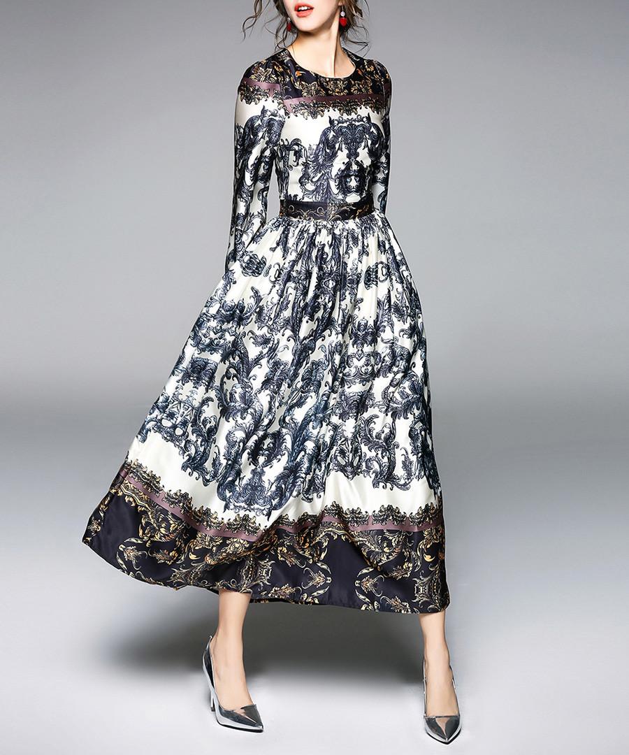 Black & white print long sleeve dress Sale - yyfs