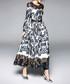 Black & white print long sleeve dress Sale - yyfs Sale