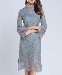 Blue lace high-neck sheath dress
