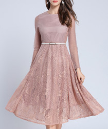 2pc pink lace midi dress & belt set