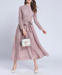 Pink lace high-neck button maxi dress