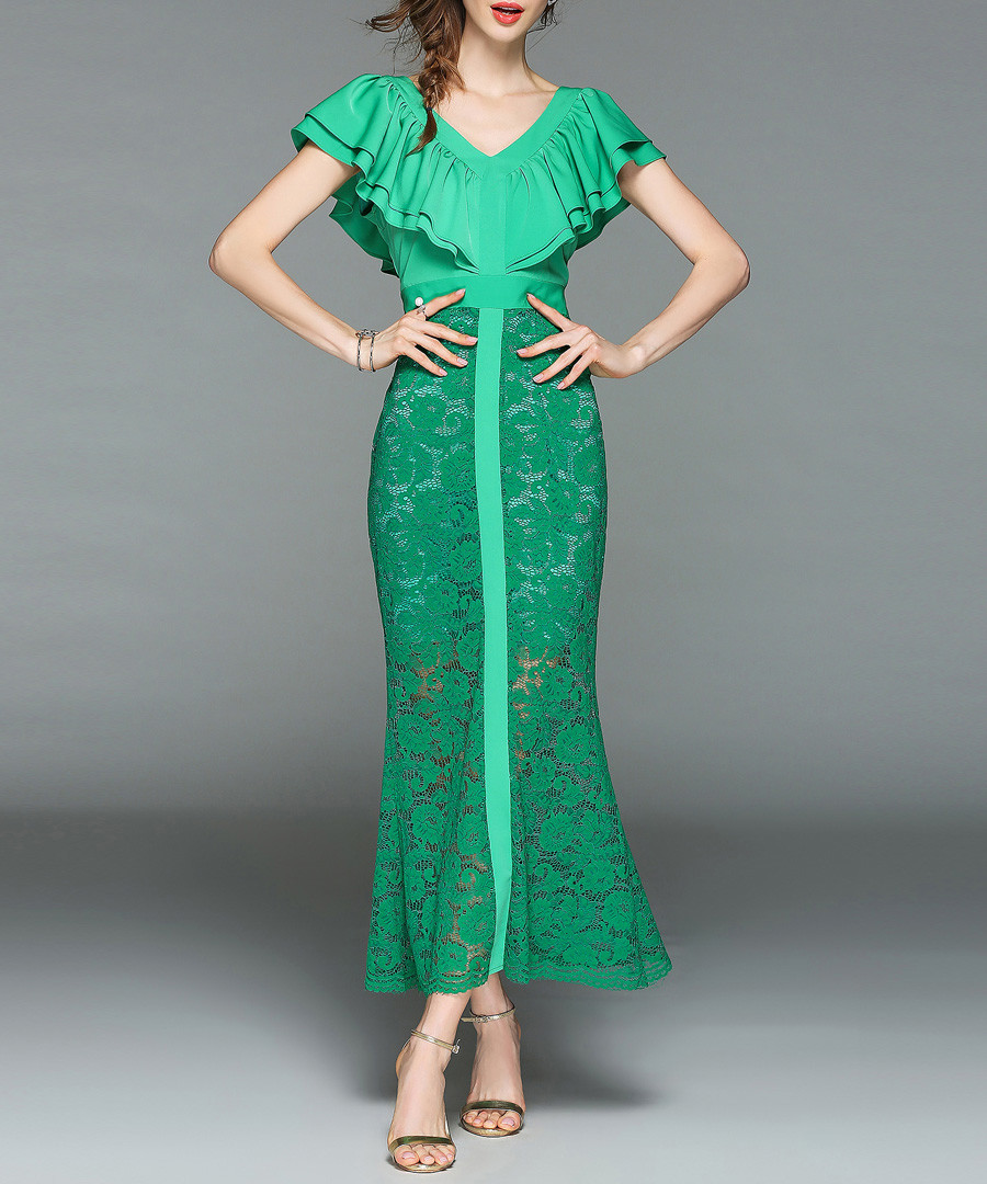 Green lace ruffle V-neck maxi dress Sale - yyfs