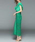 Green lace ruffle V-neck maxi dress Sale - yyfs Sale