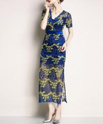 Blue & yellow lace V-neck maxi dress