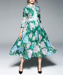 Green hydrangea print midi dress