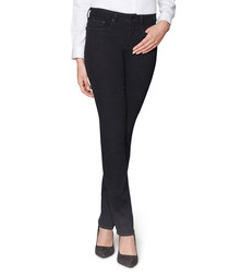 Marilyn black cotton straight jeans