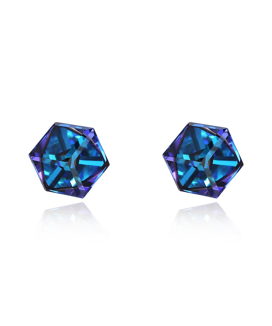 Aurora blue hexagonal studs Sale - caromay
