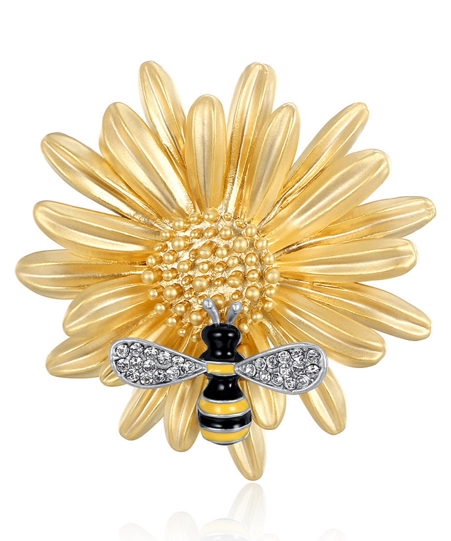 Working Bee gold-tone crystal brooch Sale - caromay