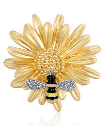 Working Bee gold-tone crystal brooch