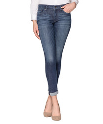 Girlfriend blue cotton blend jeans
