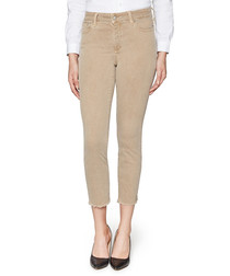 Sheri beige cotton blend crop jeans